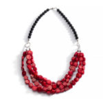 Lipstick Red Coral and Black Onyx Necklace 2