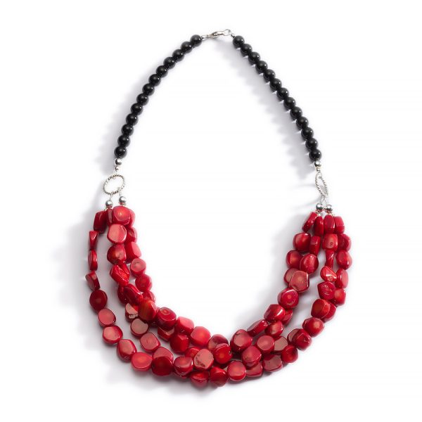 Lipstick Red Coral and Black Onyx Necklace 14