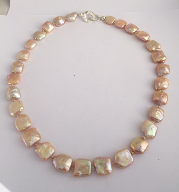 Lady Mary - Cultured Pearl Peach Bracelet with Sterling Silver Clasp 20