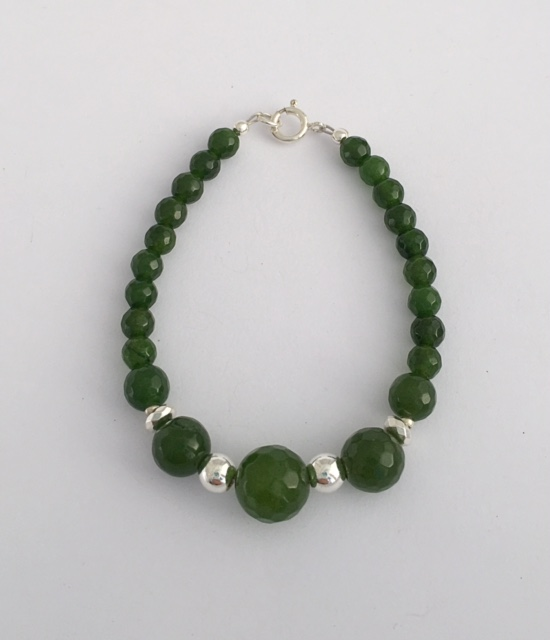 Green Jade Bracelet with Sterling Silver Clasp 1