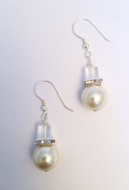 Glass Pearl, Swarovski Crystal and Crystal Rondelle Earrings 1