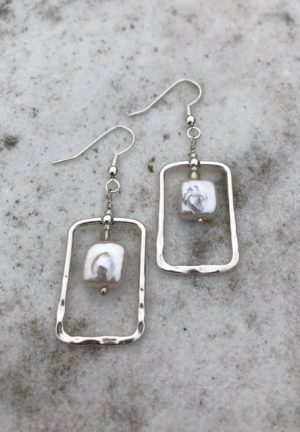 Cultured Square Freshwater Pearl and Sterling Silver Earring wire