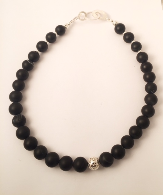 Black Onyx and Sterling Silver Necklace 1