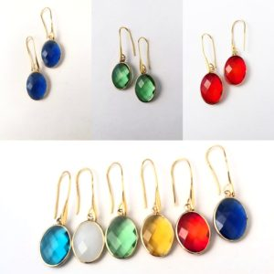 A Crystal Gold Plated drop earring