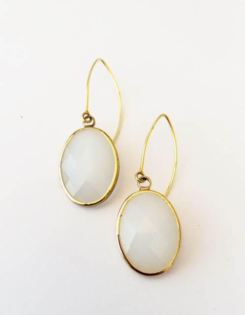 A Crystal White drop earrings Gold Plated on Sterling Silver earring wire 1