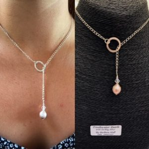 Freshwater Pearl ,Swarosvki Crystal and Sterling Silver Chain