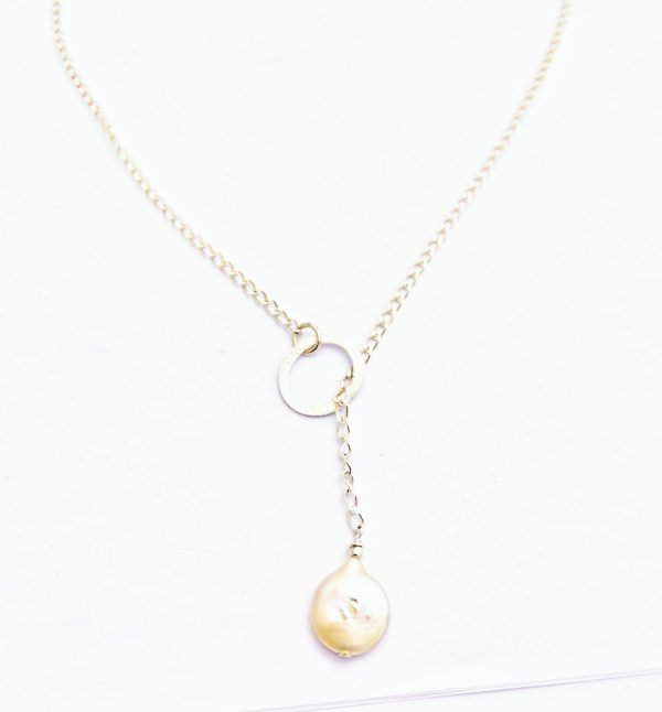 A Freshwater Pearl and Sterling Silver Chain.