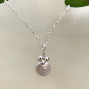 Cultured Round Pearl and Sterling Silver Pendant