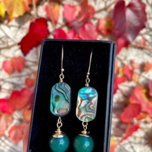 Abalone Shell, Agate and Gold Plated Earrings