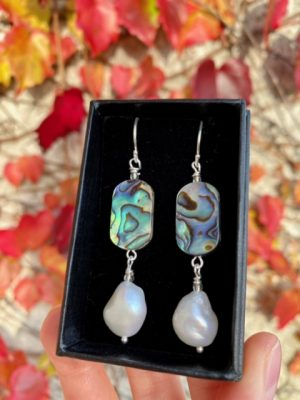 Abalone Shell, Freshwater Pearl and Sterling Silver Earrings