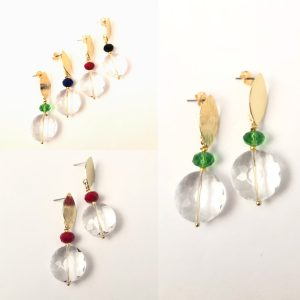 Crystal and gold earrings