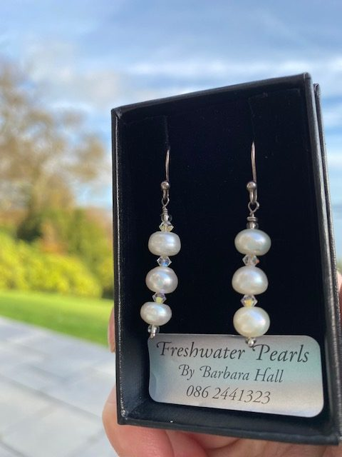 A Freshwater Pearl and Swarovski Crystal Earrings