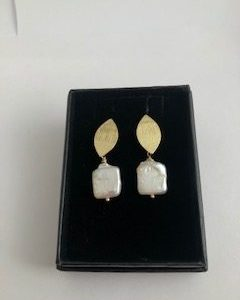 Cultured Square Pearls and Gold Plated Earrings