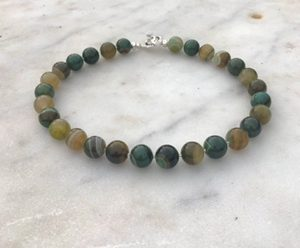 Green Toned Banded Agate Necklace