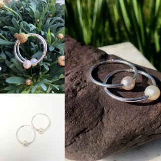 A Sterling Silver Hoop and Freshwater Real Pearl