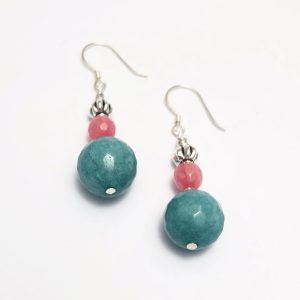 Jade and Agate Earrings with Sterling Silver earring wire